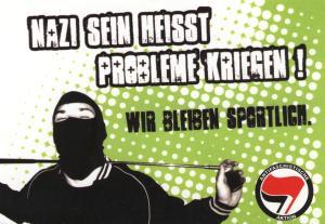nazi sein heisst probleme kriegen aufkleber paket antifaschismus gegen nazis aufkleber. Black Bedroom Furniture Sets. Home Design Ideas