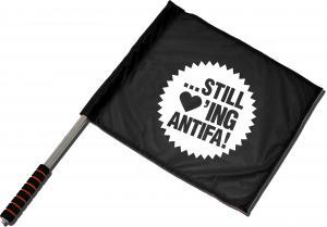 Fahne / Flagge (ca. 40x35cm): ... still loving antifa!
