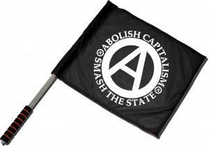 Fahne / Flagge (ca. 40x35cm): Abolish Capitalism - Smash The State