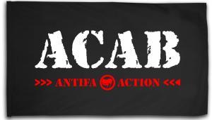 Fahne / Flagge (ca. 150x100cm): ACAB Antifa Action