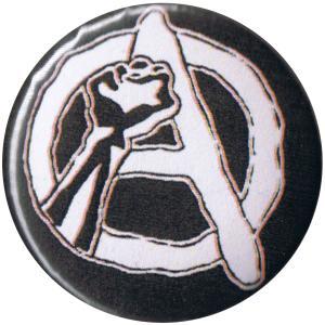 50mm Magnet-Button: Anarchie Faust (weiß/schwarz)