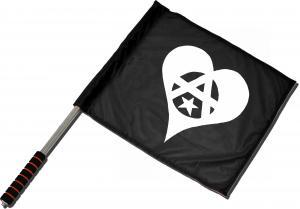 Fahne / Flagge (ca. 40x35cm): Anarchie Herz