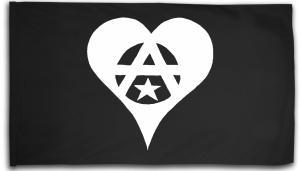 Fahne / Flagge (ca. 150x100cm): Anarchie Herz