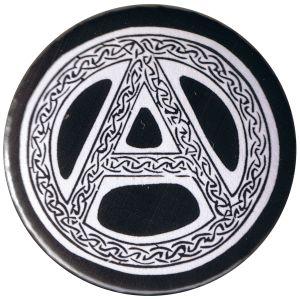 37mm Magnet-Button: Anarchie - Tribal (schwarz)