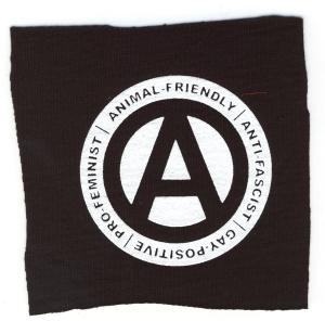 Aufnäher: Animal-Friendly - Anti-Fascist - Gay Positive - Pro Feminist