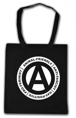 Baumwoll-Tragetasche: Animal-Friendly - Anti-Fascist - Gay Positive - Pro Feminist
