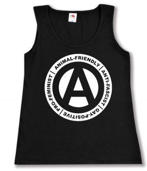 tailliertes Tanktop: Animal-Friendly - Anti-Fascist - Gay Positive - Pro Feminist