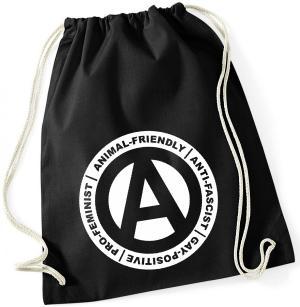 Sportbeutel: Animal-Friendly - Anti-Fascist - Gay Positive - Pro Feminist
