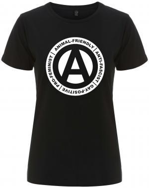 tailliertes Fairtrade T-Shirt: Animal-Friendly - Anti-Fascist - Gay Positive - Pro Feminist