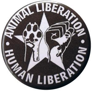 37mm Button: Animal Liberation - Human Liberation (mit Stern)