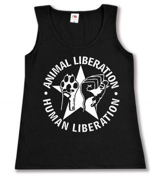 tailliertes Tanktop: Animal Liberation - Human Liberation (mit Stern)