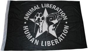 Fahne / Flagge (ca. 150x100cm): Animal Liberation - Human Liberation (mit Stern)