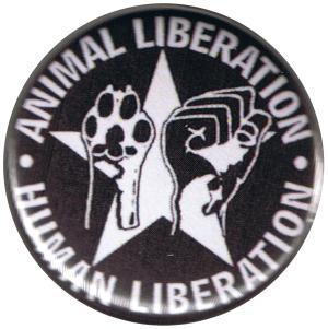 50mm Button: Animal Liberation - Human Liberation (mit Stern)