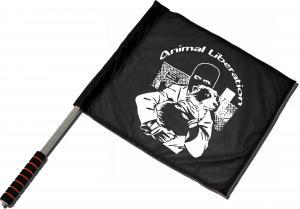 Fahne / Flagge (ca. 40x35cm): Animal Liberation (Hund)