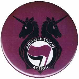 50mm Magnet-Button: Antifa Einhorn Brigade