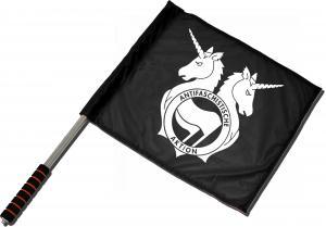 Fahne / Flagge (ca. 40x35cm): Antifa Einhorn Brigade