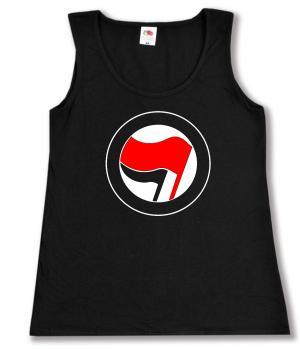 tailliertes Tanktop: Antifa Logo (rot/schwarz, ohne Schrift)