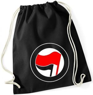 Sportbeutel: Antifa Logo (rot/schwarz, ohne Schrift)