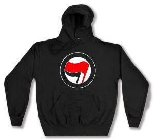Kapuzen-Pullover: Antifa Logo (rot/schwarz, ohne Schrift)