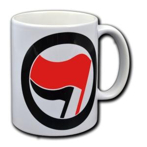 Tasse: Antifa Logo (rot/schwarz, ohne Schrift)