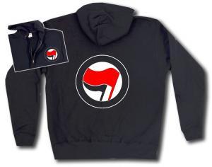 Kapuzen-Jacke: Antifa Logo (rot/schwarz, ohne Schrift)