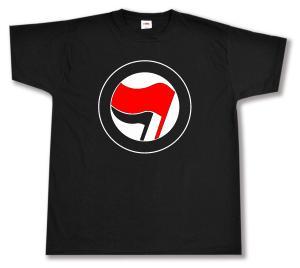 T-Shirt: Antifa Logo (rot/schwarz, ohne Schrift)