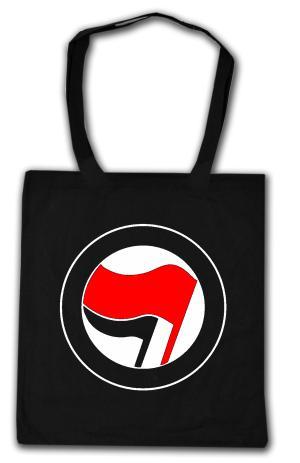 Baumwoll-Tragetasche: Antifa Logo (rot/schwarz, ohne Schrift)