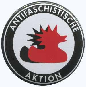 37mm Button: Antifaschistische Aktion (Enten)