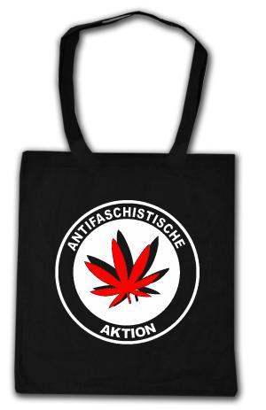 Baumwoll-Tragetasche: Antifaschistische Aktion (Hanfblatt)
