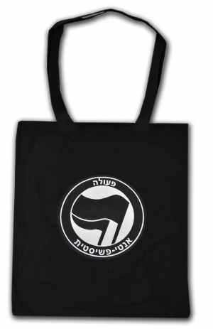 Baumwoll-Tragetasche: Antifaschistische Aktion - hebräisch (schwarz/schwarz)