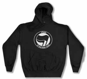Kapuzen-Pullover: Antifaschistische Aktion - hebräisch (schwarz/schwarz)