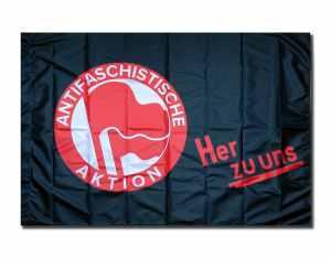 Fahne / Flagge: Antifaschistische Aktion her zu uns