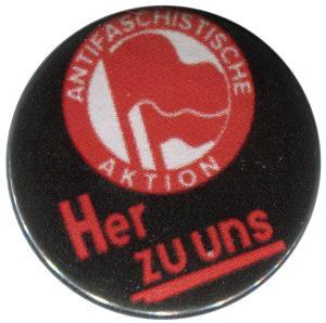 37mm Magnet-Button: Antifaschistische Aktion her zu uns
