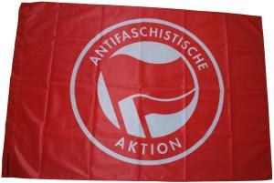 Fahne / Flagge (ca. 150x100cm): Antifaschistische Aktion (rot/rot)