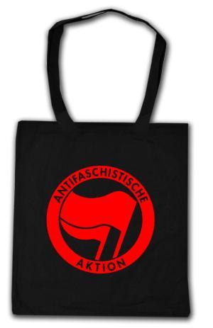 Baumwoll-Tragetasche: Antifaschistische Aktion (rot/rot)