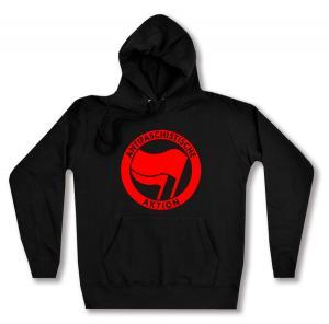 taillierter Kapuzen-Pullover: Antifaschistische Aktion (rot/rot)