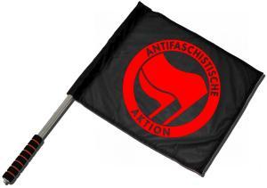 Fahne / Flagge (ca. 40x35cm): Antifaschistische Aktion (rot/rot)
