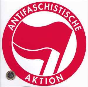 Aufkleber: Antifaschistische Aktion (rot/rot, 21cmx21cm)