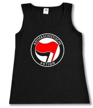 tailliertes Tanktop: Antifaschistische Aktion (rot/schwarz)