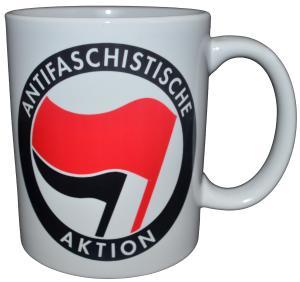 Tasse: Antifaschistische Aktion (rot/schwarz)