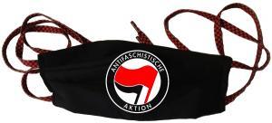 Mundmaske: Antifaschistische Aktion (rot/schwarz)