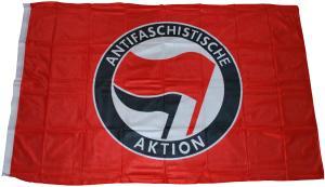 Fahne / Flagge (ca. 150x100cm): Antifaschistische Aktion (rot/schwarz)