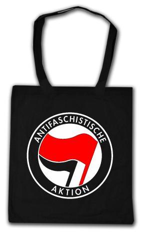 Baumwoll-Tragetasche: Antifaschistische Aktion (rot/schwarz)