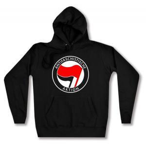taillierter Kapuzen-Pullover: Antifaschistische Aktion (rot/schwarz)
