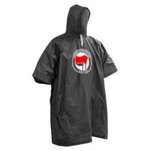 Regenponcho: Antifaschistische Aktion (rot/schwarz)