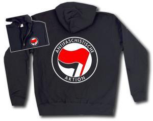 Kapuzen-Jacke: Antifaschistische Aktion (rot/schwarz)