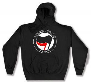 Kapuzen-Pullover: Antifaschistische Aktion (schwarz/rot)