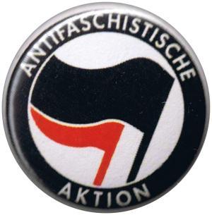 25mm Magnet-Button: Antifaschistische Aktion (schwarz/rot)