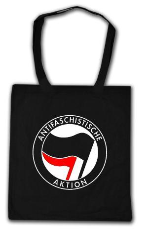 Baumwoll-Tragetasche: Antifaschistische Aktion (schwarz/rot)