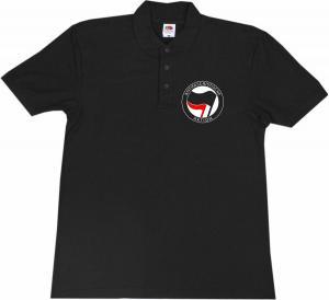 Polo-Shirt: Antifaschistische Aktion (schwarz/rot)